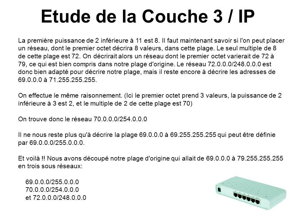 Etude de la Couche 3 / IP La première puissance de 2 inférieure à 11 est 8.