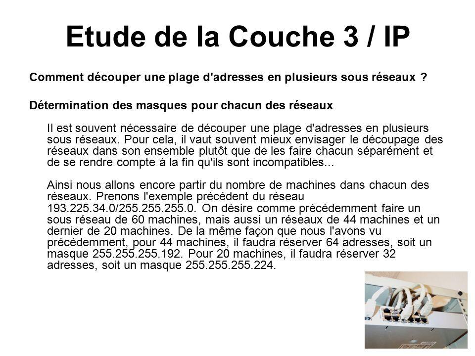 Etude de la Couche 3 / IP Comment découper une plage d adresses en plusieurs sous réseaux .