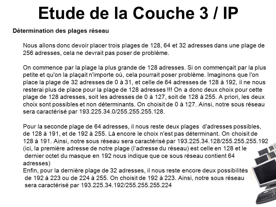 Etude de la Couche 3 / IP Détermination des plages réseau Nous allons donc devoir placer trois plages de 128, 64 et 32 adresses dans une plage de 256 adresses, cela ne devrait pas poser de problème.