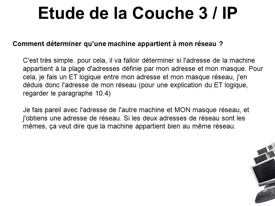 Etude de la Couche 3 / IP Comment déterminer qu une machine appartient à mon réseau .