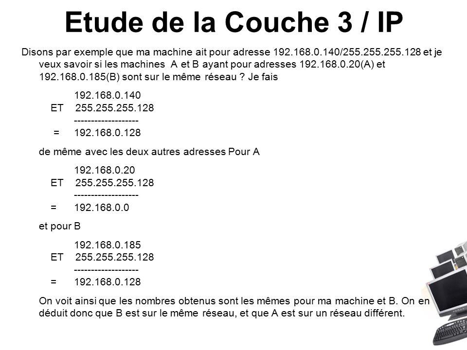 Etude de la Couche 3 / IP Disons par exemple que ma machine ait pour adresse 192.168.0.140/255.255.255.128 et je veux savoir si les machines A et B ayant pour adresses 192.168.0.20(A) et 192.168.0.185(B) sont sur le même réseau .