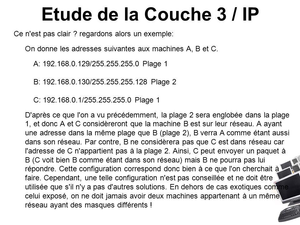 Etude de la Couche 3 / IP Ce n est pas clair .