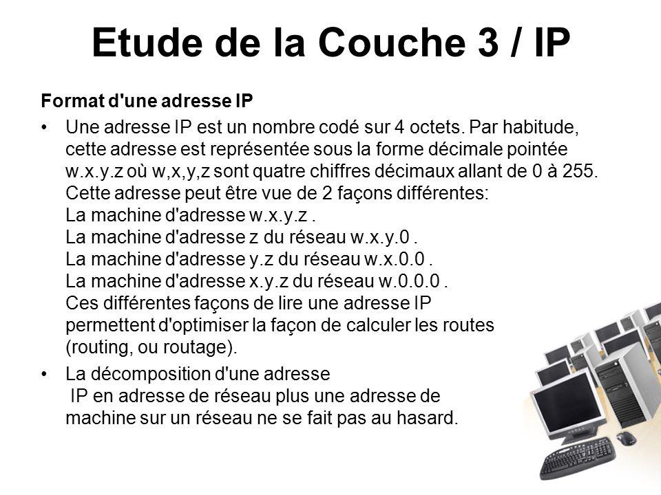 Etude de la Couche 3 / IP Format d une adresse IP Une adresse IP est un nombre codé sur 4 octets.