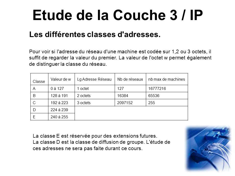 Etude de la Couche 3 / IP Les différentes classes d adresses.