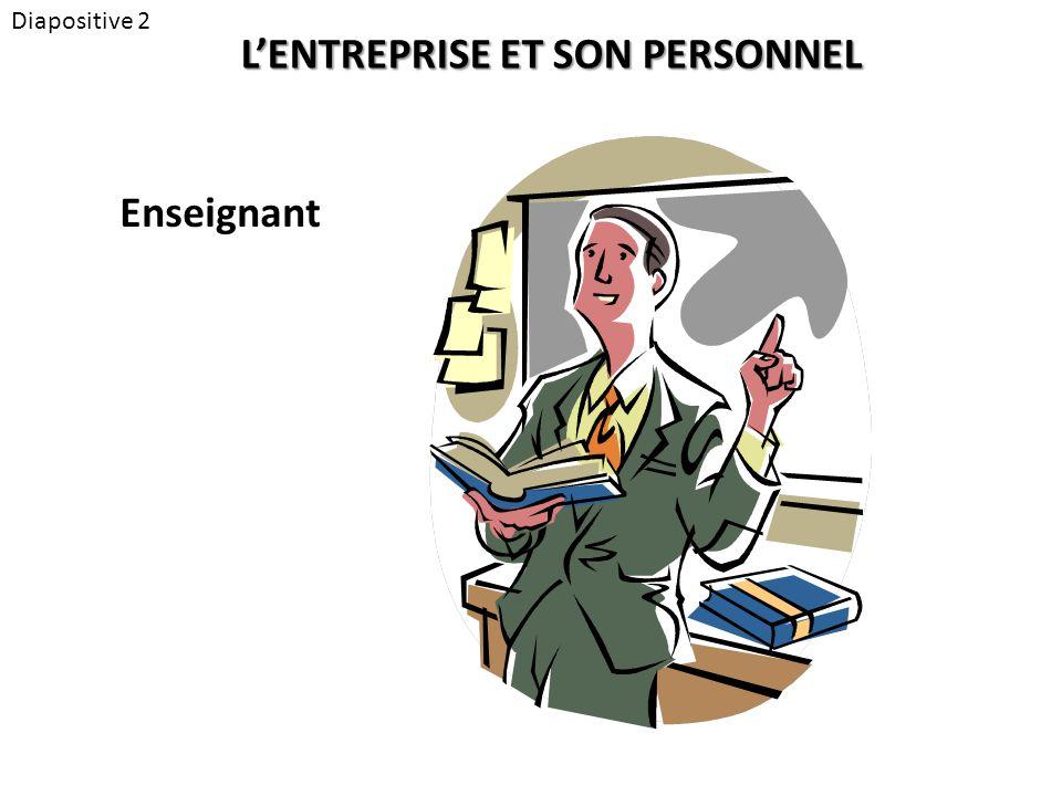 Diapositive 2 L'ENTREPRISE ET SON PERSONNEL Enseignant