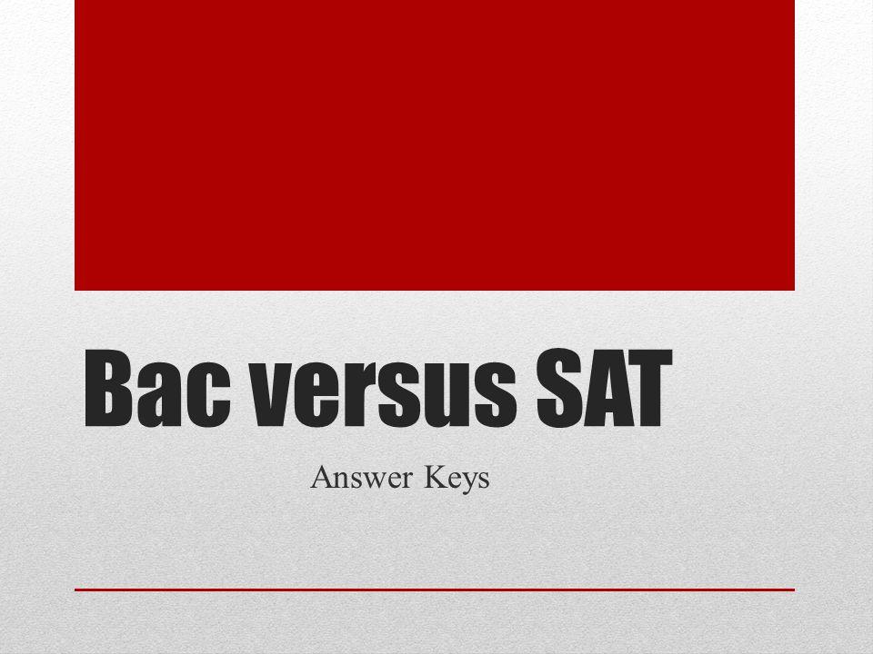 Bac versus SAT Answer Keys