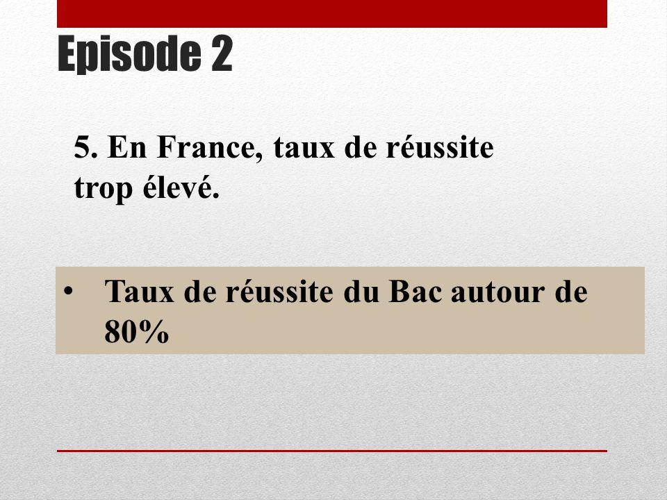 5. En France, taux de réussite trop élevé. Taux de réussite du Bac autour de 80%
