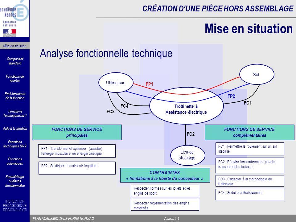 INSPECTION PEDAGOGIQUE REGIONALE STI PLAN ACADEMIQUE DE FORMATION XAOVersion 1.1 CRÉATION D'UNE PIÈCE HORS ASSEMBLAGE Étude des FC2 et FC3 « réduire l'encombrement et s'adapter à la morphologie de l'utilisateur» FAST associé CRÉATION D'UNE PIÈCE HORS ASSEMBLAGE Fonctions Techniques niv 1 Composant standard Fonctions techniques Niv 2 Aide à la création Fonctions volumiques Paramétrage surfaces fonctionnelles Problématique de la fonction Fonctions de service Mise en situation Collier de serrage à levier Tenon de collier et tube rainuré Tube télescopique Indexeur à bille Chape articulée Came de serrage de chape à levier Indexeur Maintenir en position le réglage en longueur du guidon Positionner angulairement la guidon par rapport à la roue sur toute la longueur (*) Permettre un allongement axial de l axe du guidon Indexer en position longueur maximum Permettre l articulation du guidon par rapport à l axe de la planche Maintenir en position dépliée ou repliée Indexer en position angulaire Réduire l encombrement pour le transport et le stockage et s adapter à la morphologie de l utilisateur Basculer le guidon dans l axe de la planche Réduire ou régler la longueur du guidon (*) sur certains modèles