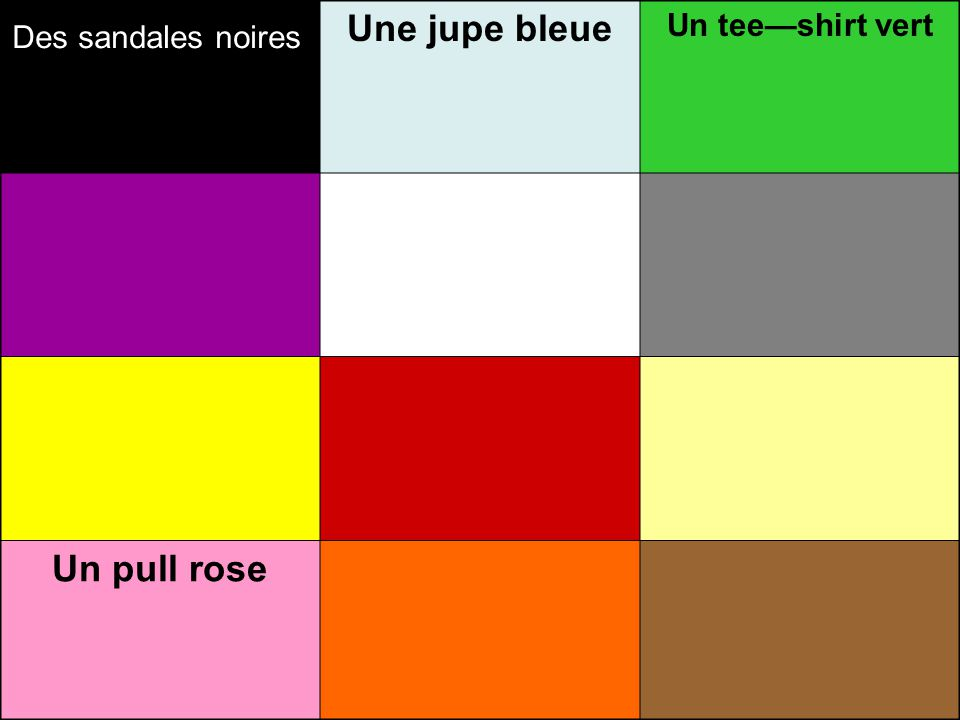 Une jupe bleue Un tee—shirt vert Un pull rose Des sandales noires