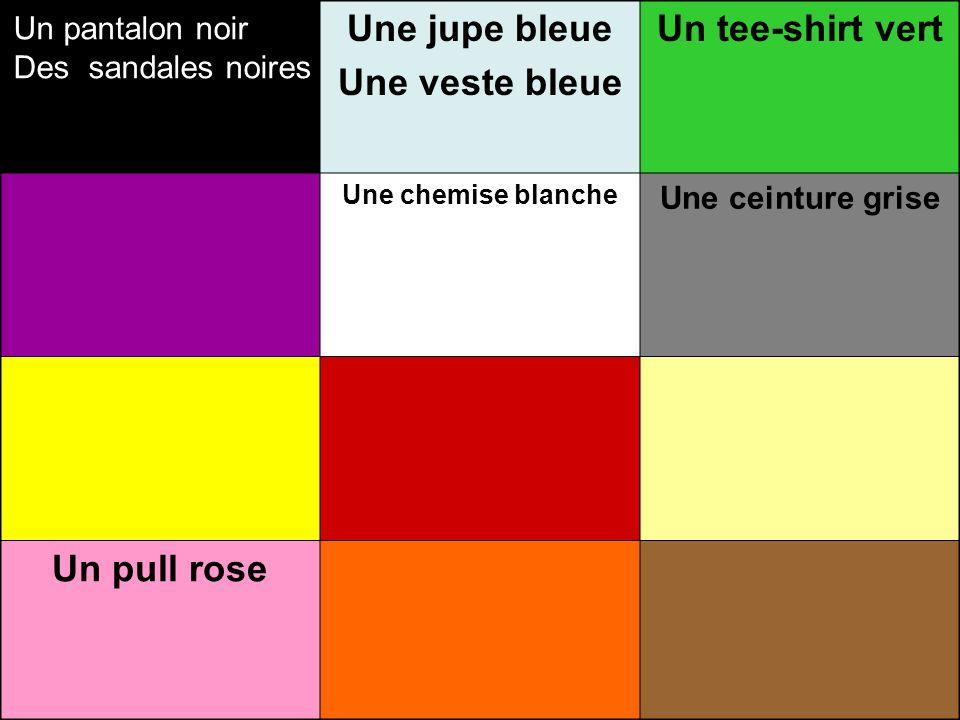 Un… Une … bleue Des… Un … vert Une… Des… Un…violet Une… Des… Un… Une … blanche des… Un… Une ….