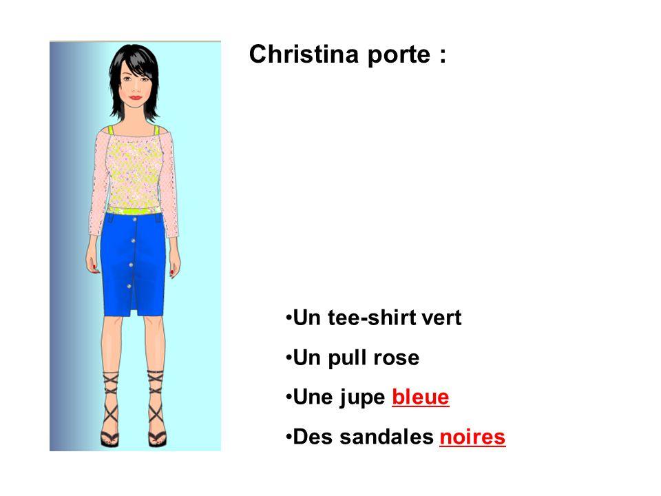 Christina porte : Un tee-shirt vert Un pull rose Une jupe bleue Des sandales noires
