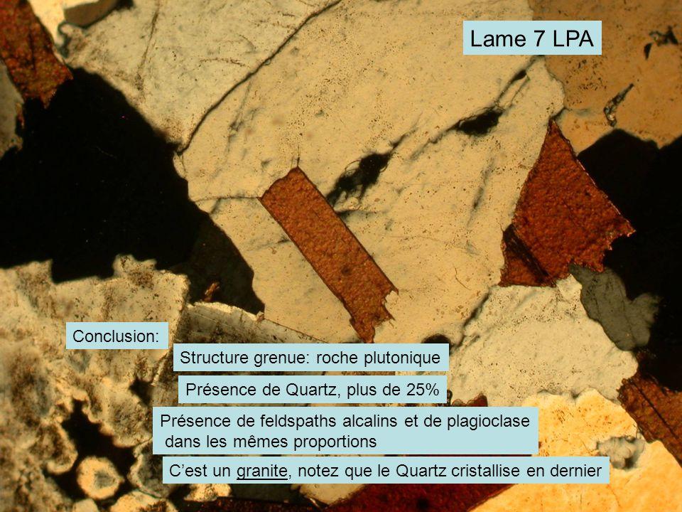 Lame 7 LPA Conclusion: Structure grenue: roche plutonique Présence de Quartz, plus de 25% Présence de feldspaths alcalins et de plagioclase dans les mêmes proportions C'est un granite, notez que le Quartz cristallise en dernier