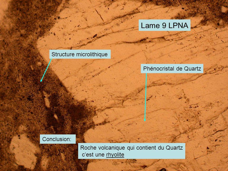 Lame 9 LPNA Phénocristal de Quartz Structure microlithique Conclusion: Roche volcanique qui contient du Quartz c'est une rhyolite