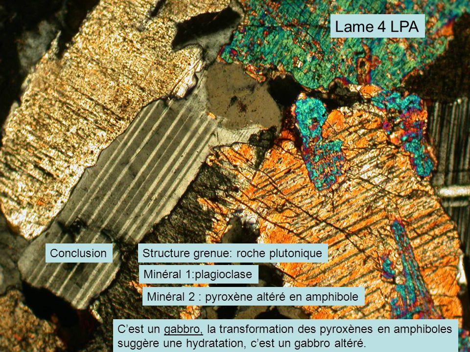 Lame 4 LPA ConclusionStructure grenue: roche plutonique Minéral 1:plagioclase Minéral 2 : pyroxène altéré en amphibole C'est un gabbro, la transformation des pyroxènes en amphiboles suggère une hydratation, c'est un gabbro altéré.
