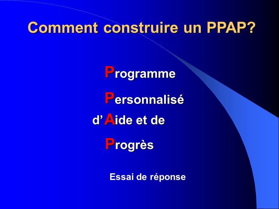 Comment construire un PPAP P P A P rogramme ersonnalisé rogrès ide et de d' Essai de réponse