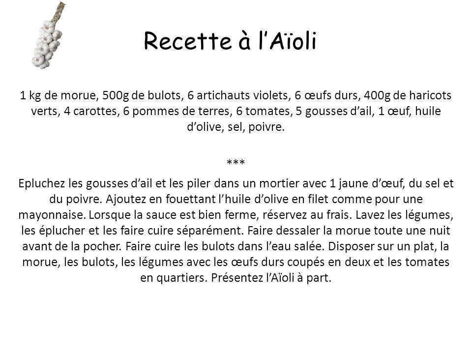 L'Aïoli 6 gousses d'ail – 1 jaune d'œuf – 15 cl d'huile d'olive – Sel *** Epluchez et dégermez l'ail, l'écraser dans un mortier.