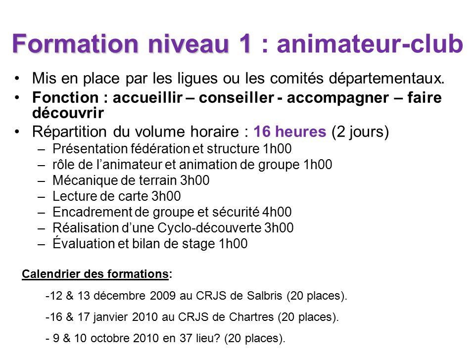 Formation niveau 1 Formation niveau 1 : animateur-club Mis en place par les ligues ou les comités départementaux.