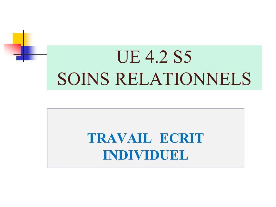 TRAVAIL ECRIT INDIVIDUEL UE 4.2 S5 SOINS RELATIONNELS