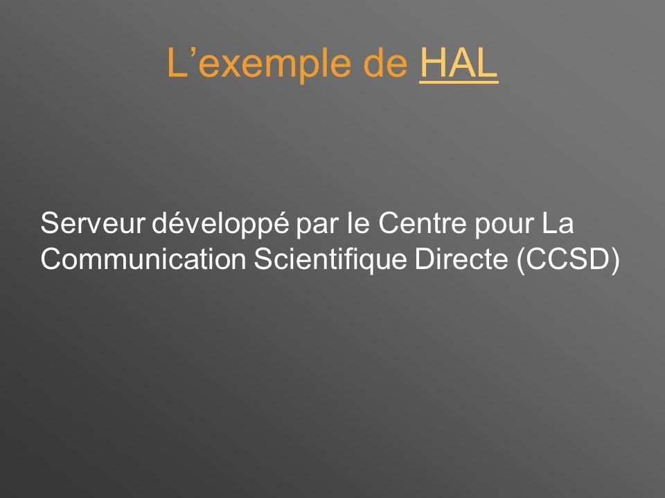 L'exemple de HALHAL Serveur développé par le Centre pour La Communication Scientifique Directe (CCSD)