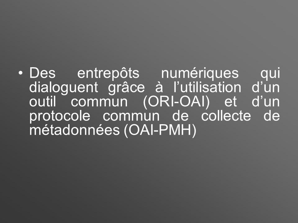 Des entrepôts numériques qui dialoguent grâce à l'utilisation d'un outil commun (ORI-OAI) et d'un protocole commun de collecte de métadonnées (OAI-PMH)