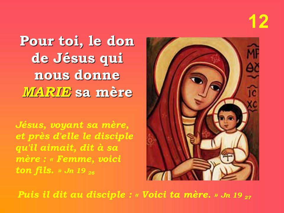 12 Pour toi, le don de Jésus qui nous donne MARIE sa mère Jésus, voyant sa mère, et près d elle le disciple qu il aimait, dit à sa mère : « Femme, voici ton fils.