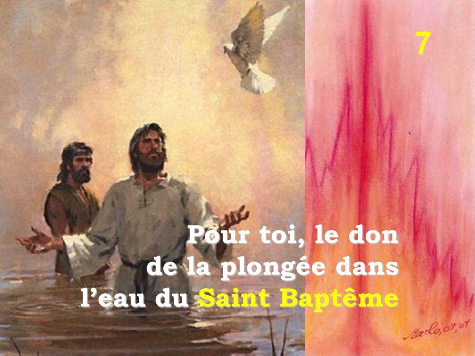 Pour toi, le don de la plongée dans l'eau du Saint Baptême 7