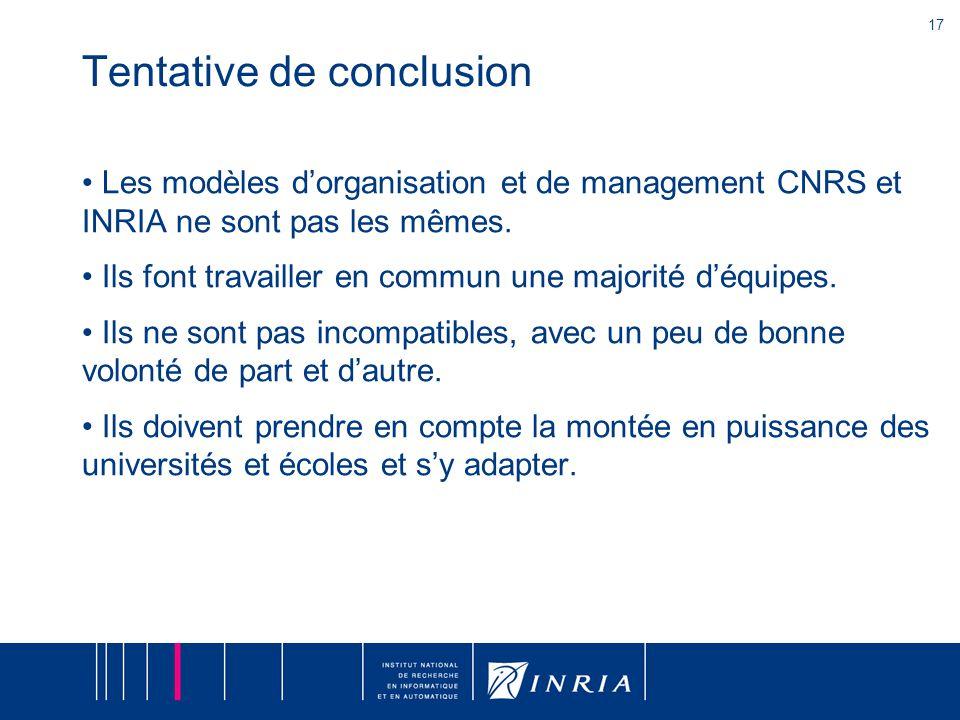 17 Tentative de conclusion Les modèles d'organisation et de management CNRS et INRIA ne sont pas les mêmes.
