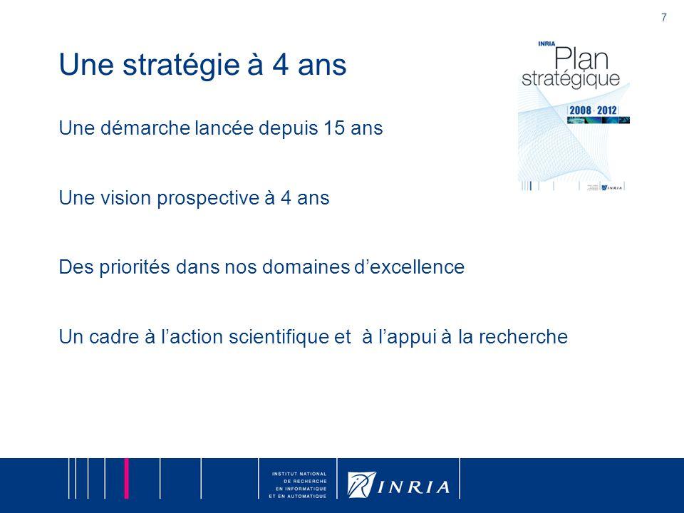 7 Une stratégie à 4 ans Une démarche lancée depuis 15 ans Une vision prospective à 4 ans Des priorités dans nos domaines d'excellence Un cadre à l'action scientifique et à l'appui à la recherche