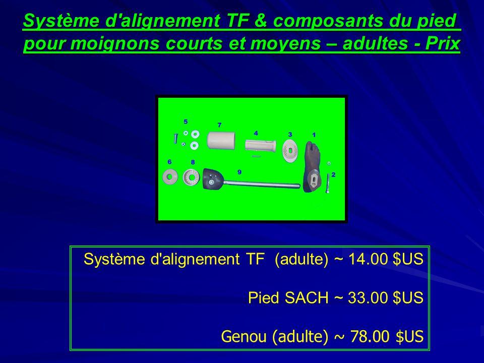 Système d'alignement TF & composants du pied pour moignons courts et moyens – adultes - Prix Système d'alignement TF (adulte) ~ 14.00 $US Pied SACH ~