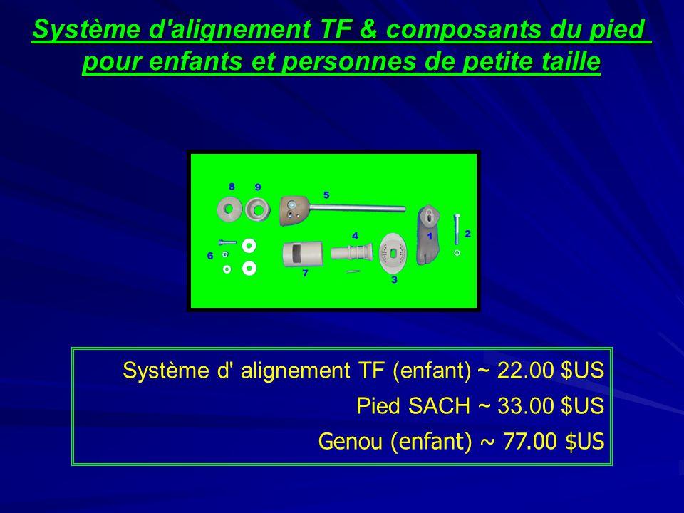 Système d'alignement TF & composants du pied pour enfants et personnes de petite taille Système d' alignement TF (enfant) ~ 22.00 $US Pied SACH ~ 33.0