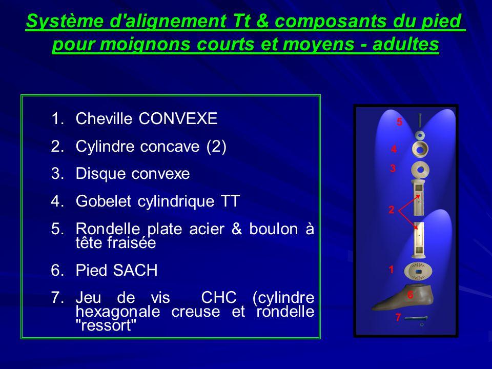 Système d alignement Tt & composants du pied pour moignons courts et moyens - adultes 1.Cheville CONVEXE 2.Cylindre concave (2) 3.Disque convexe 4.Gobelet cylindrique TT 5.Rondelle plate acier & boulon à tête fraisée 6.Pied SACH 7.Jeu de vis CHC (cylindre hexagonale creuse et rondelle ressort