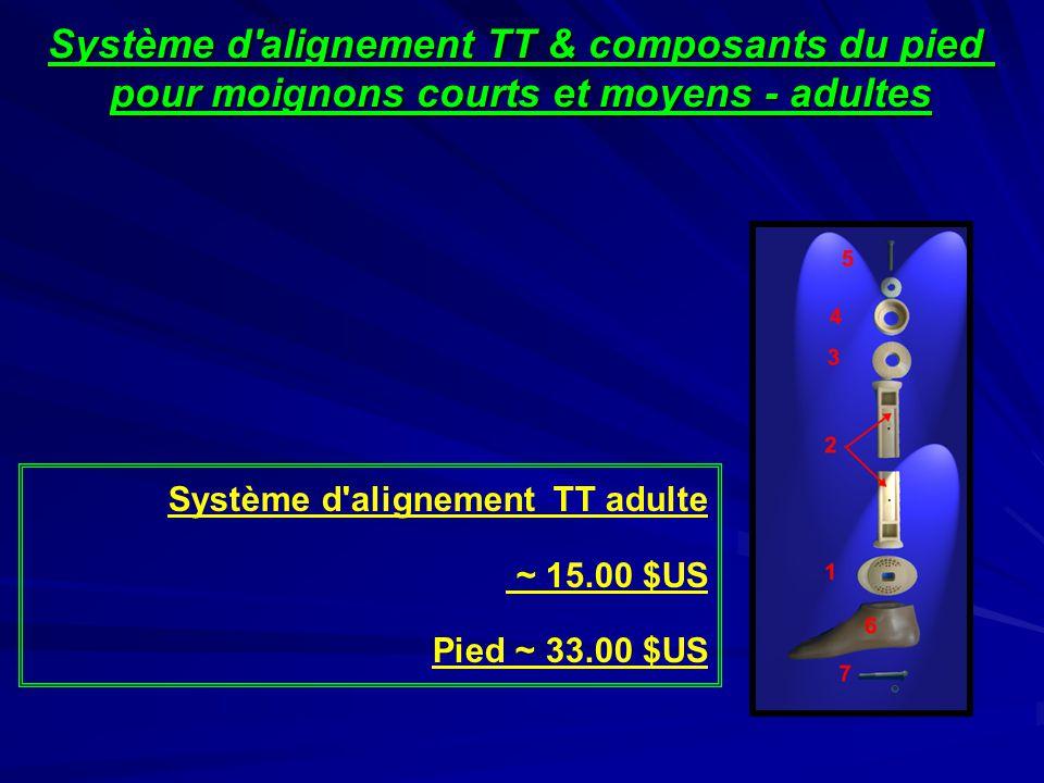 Système d alignement TT & composants du pied pour moignons courts et moyens - adultes Système d alignement TT adulte ~ 15.00 $US Pied ~ 33.00 $US