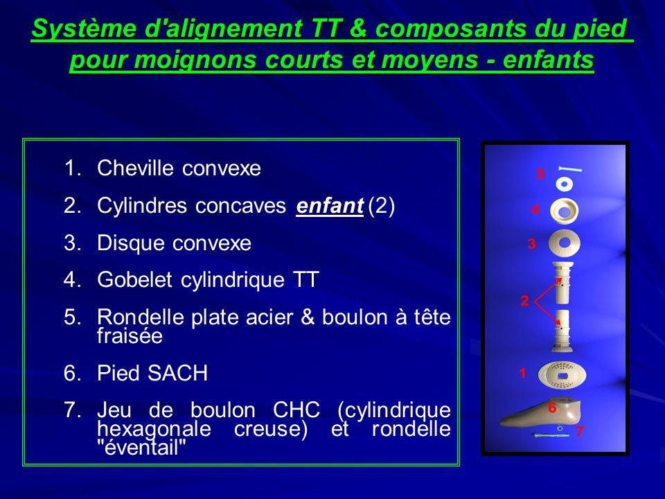 1.Cheville convexe 2.Cylindres concaves enfant (2) 3.Disque convexe 4.Gobelet cylindrique TT 5.Rondelle plate acier & boulon à tête fraisée 6.Pied SAC