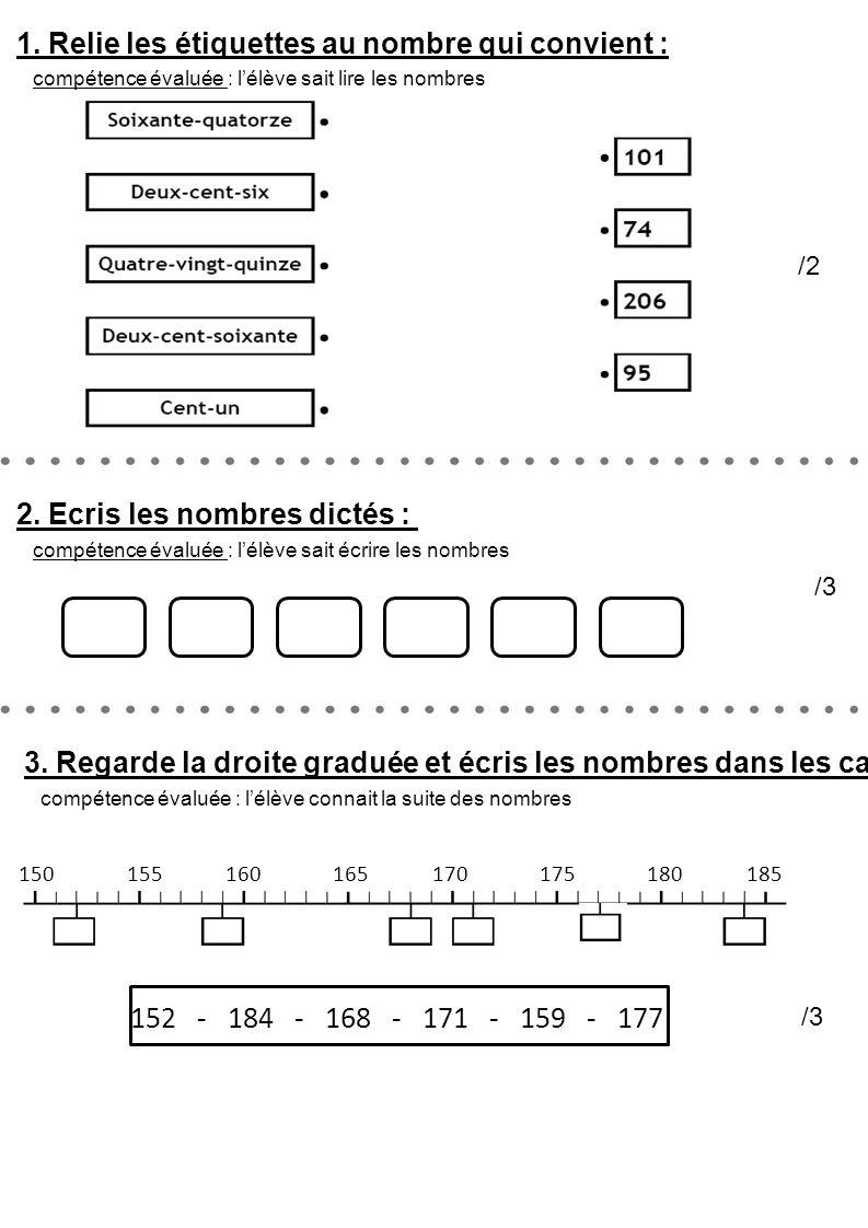 1. Relie les étiquettes au nombre qui convient : /2 compétence évaluée : l'élève sait lire les nombres 3. Regarde la droite graduée et écris les nombr