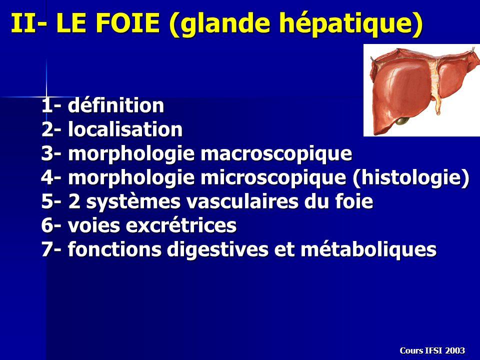 Cours IFSI 2003 II- LE FOIE (glande hépatique) 1- définition 2- localisation 3- morphologie macroscopique 4- morphologie microscopique (histologie) 5-