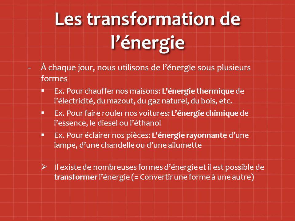 Les transformation de l'énergie - -À chaque jour, nous utilisons de l'énergie sous plusieurs formes   Ex.