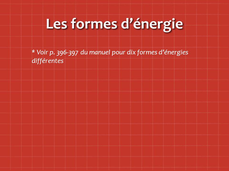 Les formes d'énergie * Voir p. 396-397 du manuel pour dix formes d'énergies différentes