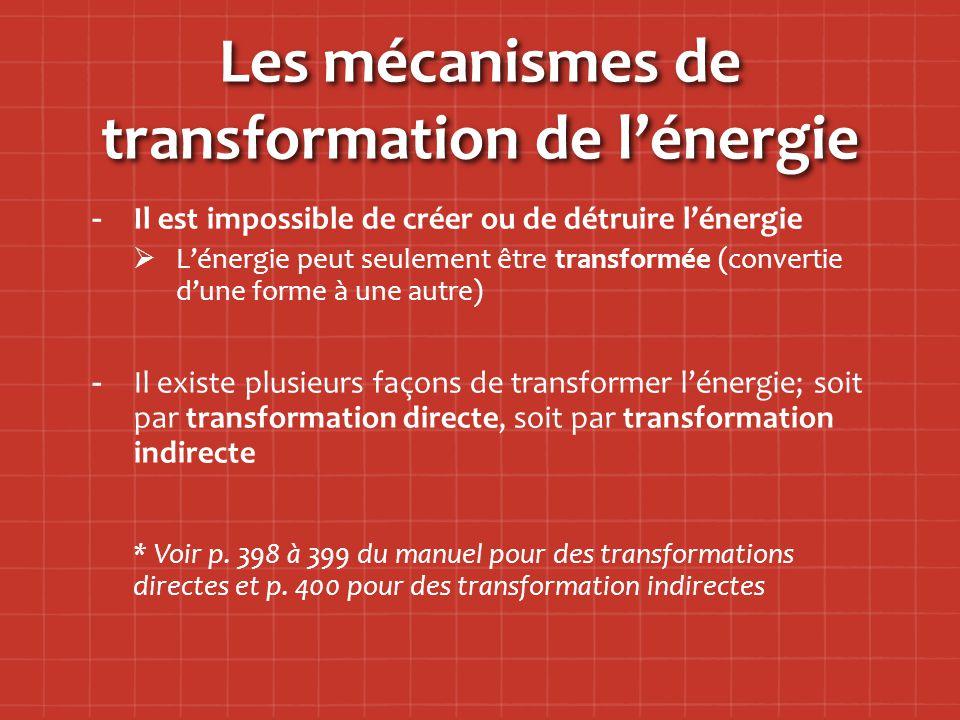 Les mécanismes de transformation de l'énergie - -Il est impossible de créer ou de détruire l'énergie   L'énergie peut seulement être transformée (convertie d'une forme à une autre) - -Il existe plusieurs façons de transformer l'énergie; soit par transformation directe, soit par transformation indirecte * Voir p.