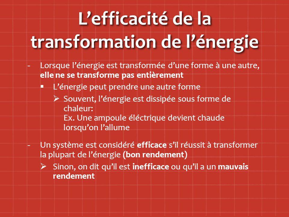 L'efficacité de la transformation de l'énergie - -Lorsque l'énergie est transformée d'une forme à une autre, elle ne se transforme pas entièrement   L'énergie peut prendre une autre forme   Souvent, l'énergie est dissipée sous forme de chaleur: Ex.
