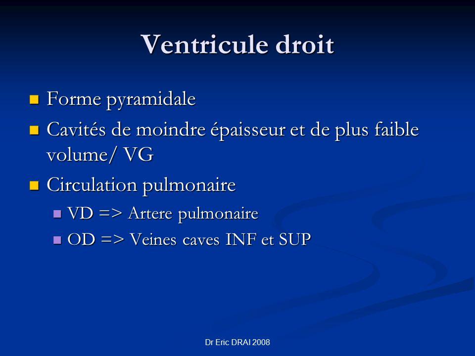 Ventricule droit Forme pyramidale Forme pyramidale Cavités de moindre épaisseur et de plus faible volume/ VG Cavités de moindre épaisseur et de plus f