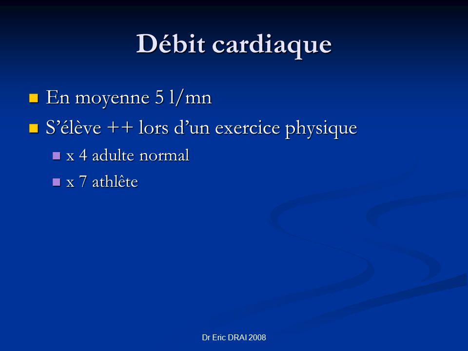 Dr Eric DRAI 2008 Débit cardiaque En moyenne 5 l/mn En moyenne 5 l/mn S'élève ++ lors d'un exercice physique S'élève ++ lors d'un exercice physique x