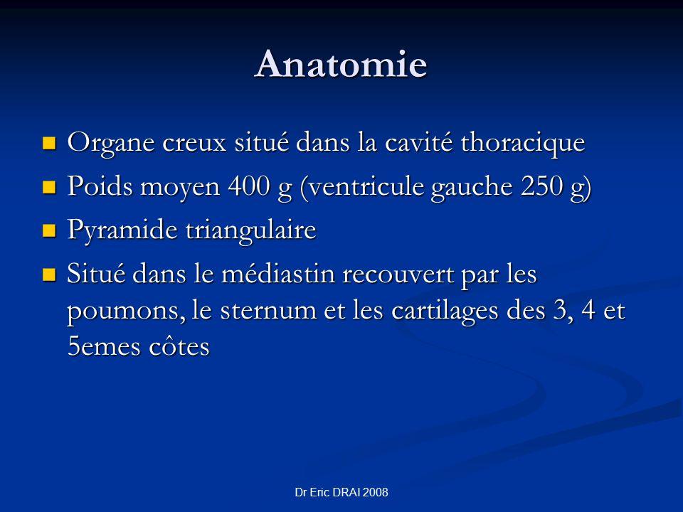 Anatomie Organe creux situé dans la cavité thoracique Organe creux situé dans la cavité thoracique Poids moyen 400 g (ventricule gauche 250 g) Poids m