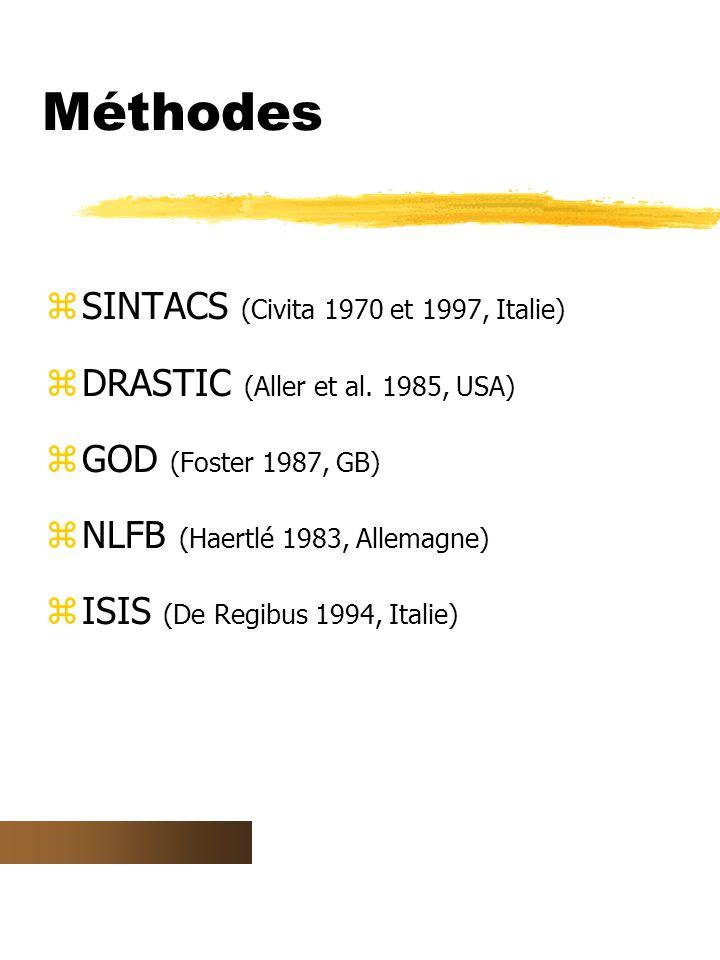 Méthodes zSINTACS (Civita 1970 et 1997, Italie) zDRASTIC (Aller et al.