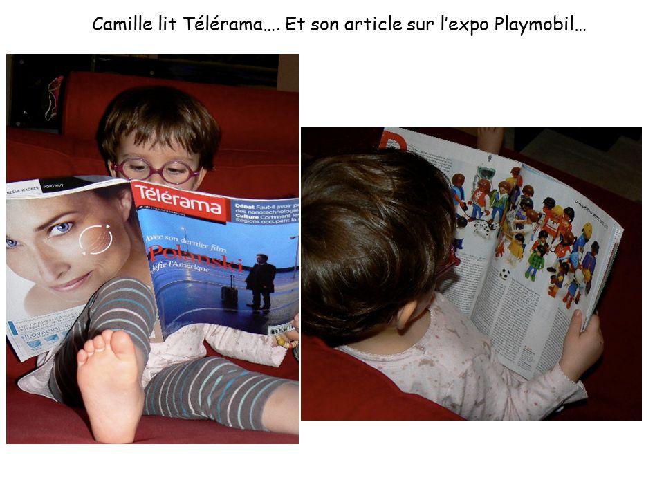 Camille lit Télérama…. Et son article sur l'expo Playmobil…