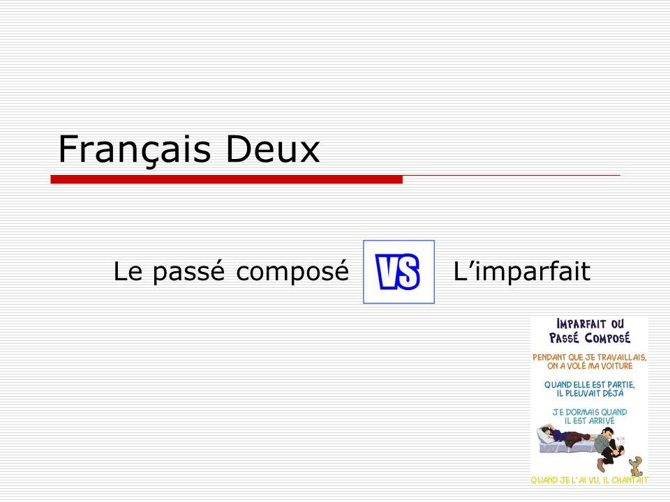 Français Deux Le passé composé L'imparfait