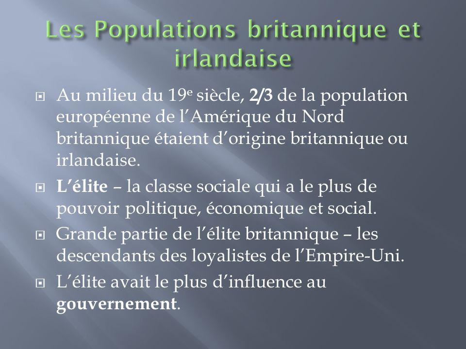  Au milieu du 19 e siècle, 2/3 de la population européenne de l'Amérique du Nord britannique étaient d'origine britannique ou irlandaise.