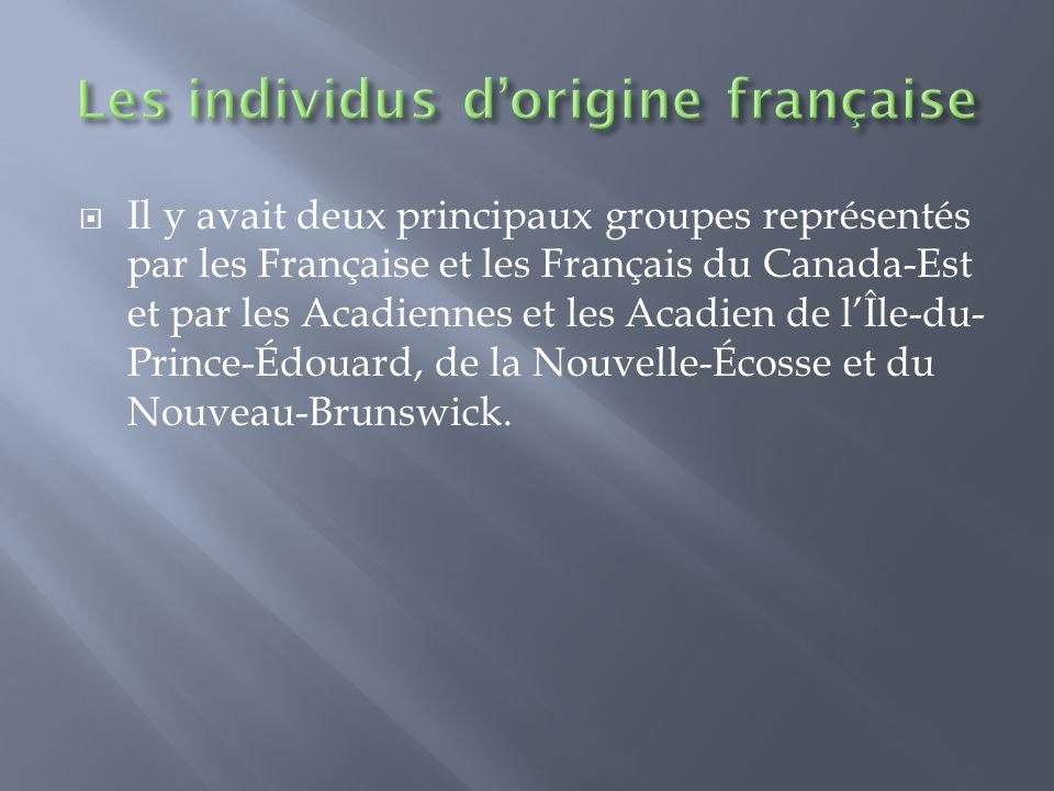  Il y avait deux principaux groupes représentés par les Française et les Français du Canada-Est et par les Acadiennes et les Acadien de l'Île-du- Prince-Édouard, de la Nouvelle-Écosse et du Nouveau-Brunswick.