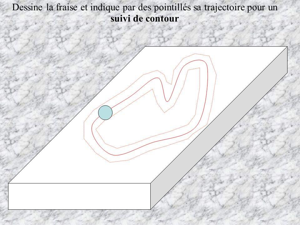 Dessine la fraise et indique par des pointillés sa trajectoire pour un suivi de contour