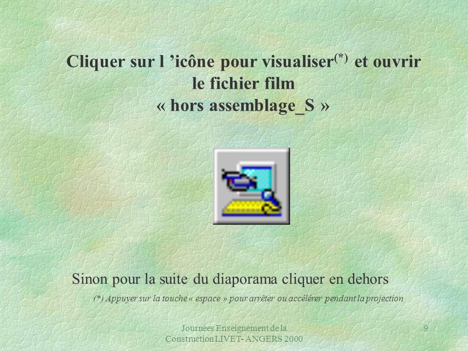 Journées Enseignement de la Construction LIVET- ANGERS 2000 9 Sinon pour la suite du diaporama cliquer en dehors (*) Appuyer sur la touche « espace » pour arrêter ou accélérer pendant la projection Cliquer sur l 'icône pour visualiser (*) et ouvrir le fichier film « hors assemblage_S »