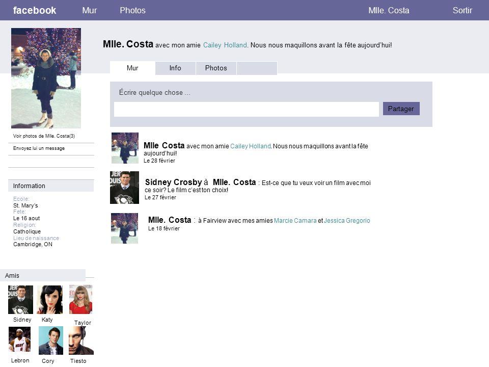 facebook Mlle. Costa avec mon amie Cailey Holland.